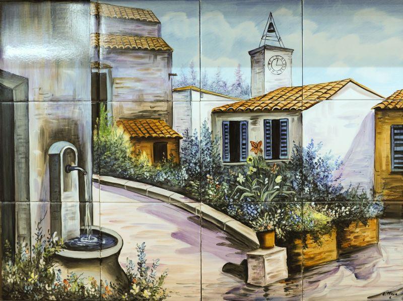 Paisajes murales ceramicos paisajes fuente - Murales de azulejos ...